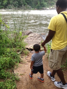 "Our little explorer had to go down and check things out. ""Closer,"" he kept telling his daddy."